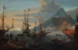 Circle of Hendrick van Minderhout (Rotterdam 1632-1696 Antwerp) A Mediterranean port scene with a...