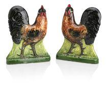 A pair of Wemyss fireplace cockerels (2)