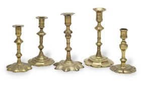 An early to mid-18th century brass alloy socket candlestick, circa 1730 (5)