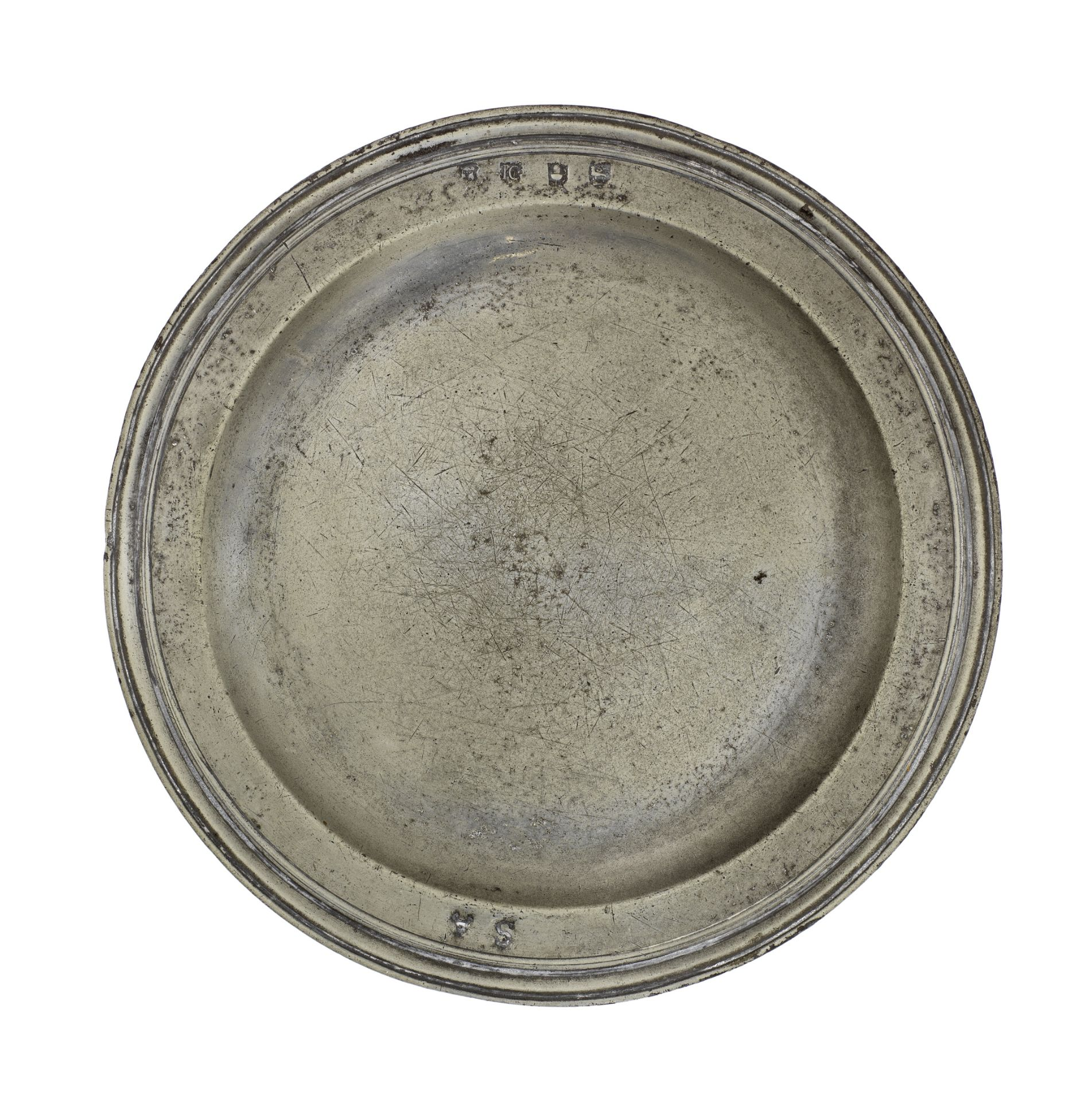 A Charles II pewter triple reeded plate, circa 1680