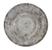A rare Charles I pewter broad rim plate, circa 1640