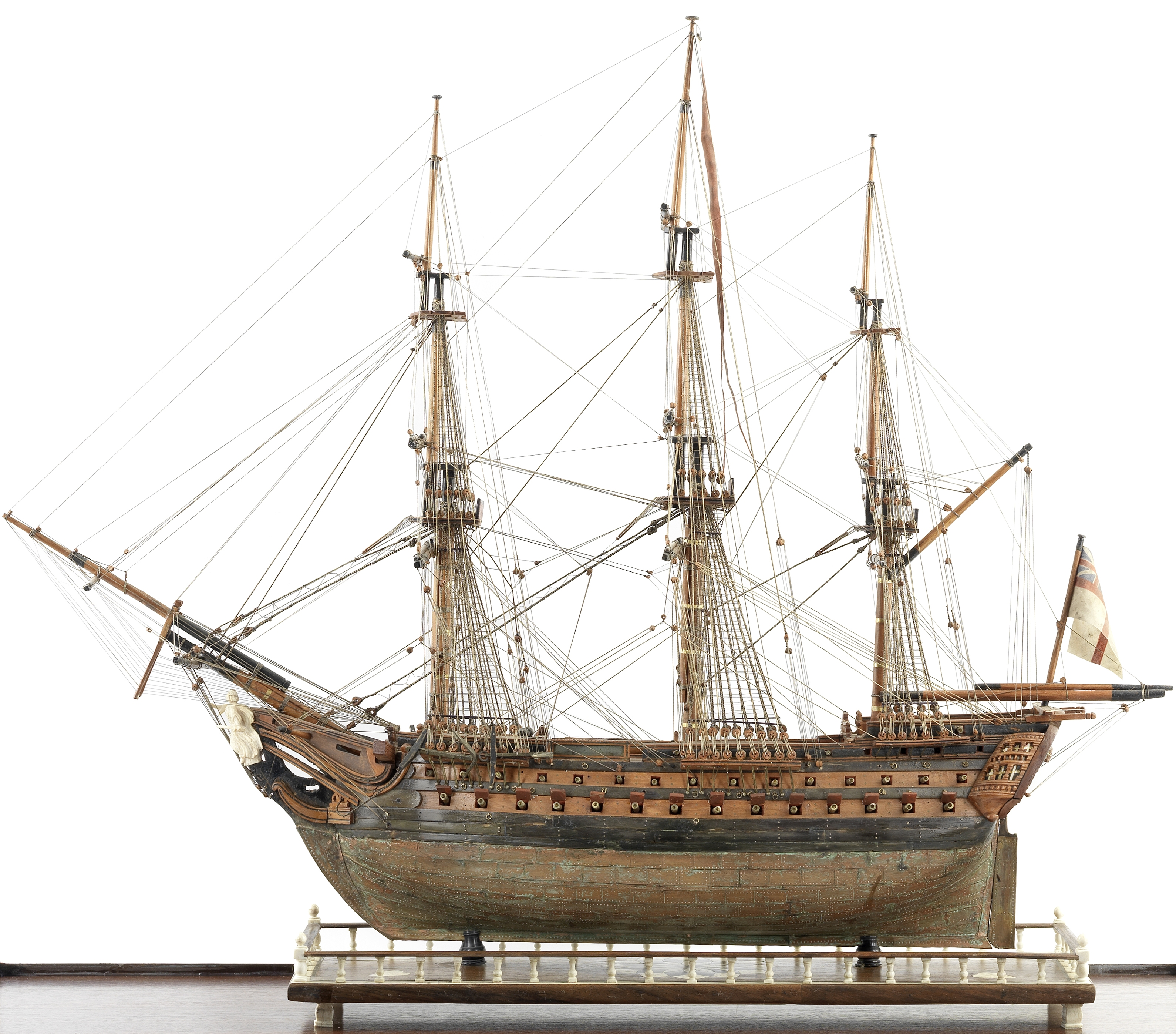 A fine Prisoner-of-War boxwood model of the first class ship of the line HMS Foudroyant, early 1...