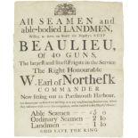 A recruiting broadsheet for the 40 gun frigate HMS Beaulieu, English, late 18th century,