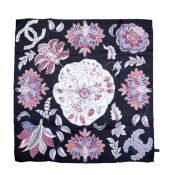 Navy Floral Silk Scarf, Chanel, (Includes box)
