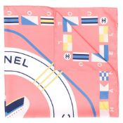 Peach CC Cruise Print Silk Scarf, Chanel,