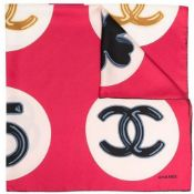 Red Circle Print Silk Scarf, Chanel,