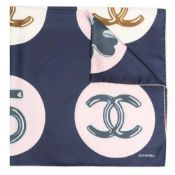 Navy CC Circle Print Silk Scarf, Chanel,