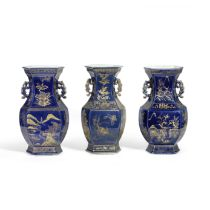 THREE GILT-DECORATED BLUE GLAZED HEXAGONAL VASES 18th/19th century (3)