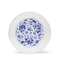 A BLUE AND WHITE 'LOTUS' DISH Kangxi six-character mark and of the period