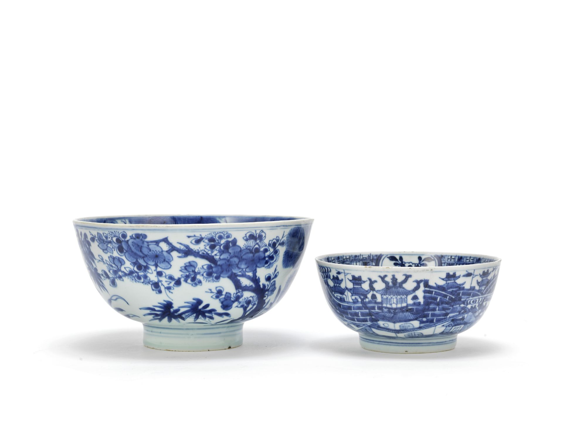 TWO BLUE AND WHITE BOWLS One with Shendetang Bogu zhi mark, the other with Yongle four-character ...