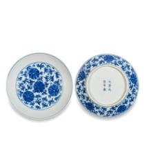A PAIR OF BLUE AND WHITE 'LOTUS' DISHES Tongzhi six-character marks and of the period (2)