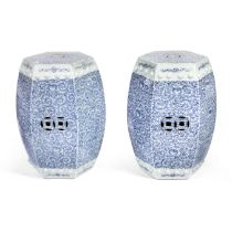 A PAIR OF HEXAGONAL BLUE AND WHITE GARDEN STOOLS 19th century (2)