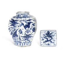 A BLUE AND WHITE HEXAGONAL 'CRANES' JAR AND A BLUE AND WHITE SQUARE INK STONE Ming Dynasty and la...
