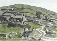 Sir Kyffin Williams R.A. (British, 1918-2006) Cottages Waunfawr