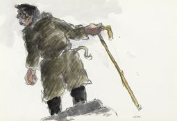 Sir Kyffin Williams R.A. (British, 1918-2006) On the Lookout (with a further pencil sketch of a m...