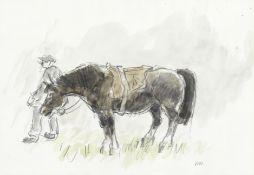 Sir Kyffin Williams R.A. (British, 1918-2006) Man and a Horse