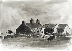 Sir Kyffin Williams R.A. (British, 1918-2006) Penrhyn Du (with a further pencil drawing of a farm...