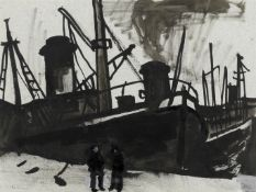 Sir Kyffin Williams R.A. (British, 1918-2006) Swansea Docks Executed circa the 1950s (with a furt...