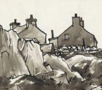 Sir Kyffin Williams R.A. (British, 1918-2006) Houses, Bryn Refail