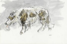 Sir Kyffin Williams R.A. (British, 1918-2006) Sheep Dog (with a further pencil sketch of a duck o...