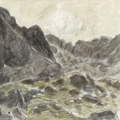 Sir Kyffin Williams R.A. (British, 1918-2006) Cwm Idwal (with a further pencil sketch of a landsc...