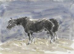 Sir Kyffin Williams R.A. (British, 1918-2006) Stallion (with a further unfinished portrait sketch...