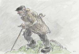 Sir Kyffin Williams R.A. (British, 1918-2006) Farmer on the Hill (with a further pencil drawing o...