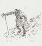 Sir Kyffin Williams R.A. (British, 1918-2006) Shepherd Walking Down a Hill (with a further pencil...