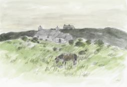 Sir Kyffin Williams R.A. (British, 1918-2006) Cottages and Pony, Anglesey