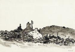 Sir Kyffin Williams R.A. (British, 1918-2006) Cottages, Cesarea