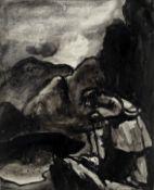 Sir Kyffin Williams R.A. (British, 1918-2006) Llyn Glaslyn (Painted in 1962)