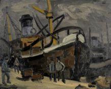 Sir Kyffin Williams R.A. (British, 1918-2006) Swansea Docks (Painted circa the 1950s)