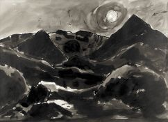 Sir Kyffin Williams R.A. (British, 1918-2006) Hills above Nant Peris (with a further unfinished l...
