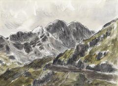 Sir Kyffin Williams R.A. (British, 1918-2006) Y Lliwedd (with a further pencil drawing of a mount...