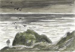 Sir Kyffin Williams R.A. (British, 1918-2006) Birds Along the Shore