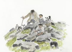Sir Kyffin Williams R.A. (British, 1918-2006) The Lost Sheep