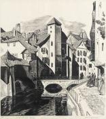Iain MacNab (British, 1890-1967) Le Quai de L'ile, Annecy Wood engraving, circa 1929, on thin ori...