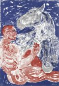 Dame Elisabeth Frink R.A. (British, 1930-1993) Man and Horse Screenprint in colours, 1990, on BF...