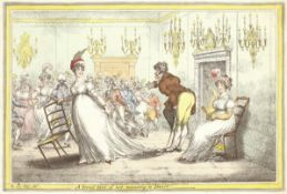 James Gillray (British, 1756-1815) A Broad Hint of Not Meaning to Dance Etching with hand-colouri...