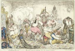 James Gillray (British, 1756-1815) Making-Decent; -i.e.- Broad-Bottomites Getting into the Grand ...