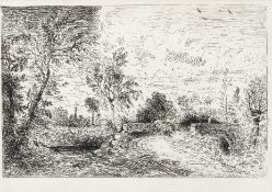John Constable, R.A. (British, 1776-1837) The Old Bridge at Salisbury (Milford Bridge) Etching, 1...