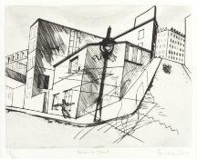 Stanley William Hayter (British, 1901-1988) Rue de La Villette, from 'Paysages Urbains' (Black & ...
