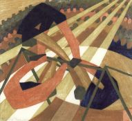 Lill Tschudi (Swiss, 1911-2004) In the Circus Linocut printed in colours, 1932, on tissue-thin Ja...