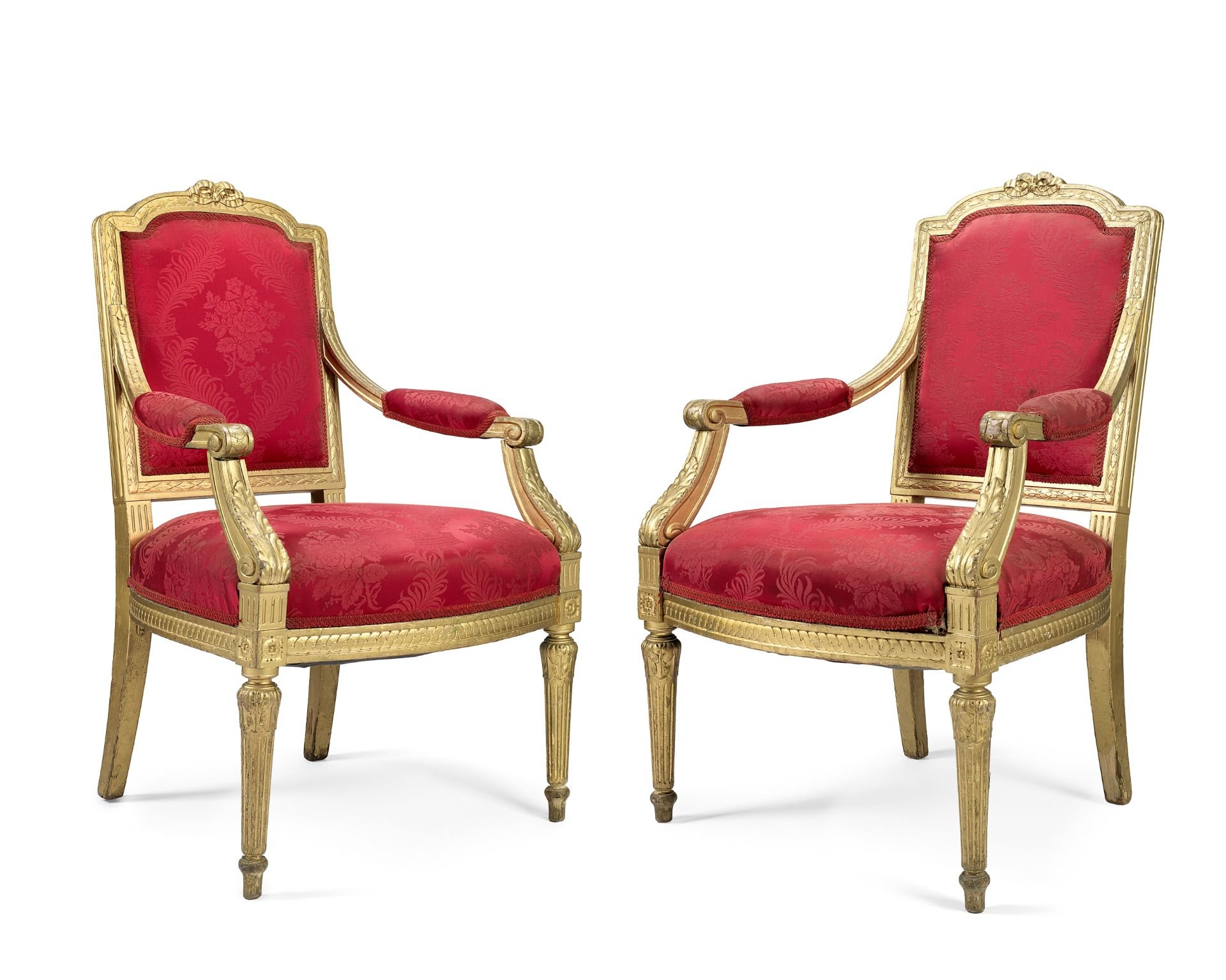 Theatre Royal: a pair of early 20th century giltwood open armchairs in the Louis XVI style, 2