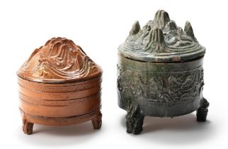 TWO GLAZED TRIPOD 'HILL' INCENSE BURNERS AND COVERS Eastern Han Dynasty (4)