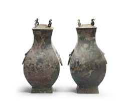 A PAIR OF ARCHAIC BRONZE RITUAL WINE VESSELS AND COVERS, FANGHU Han Dynasty (4)