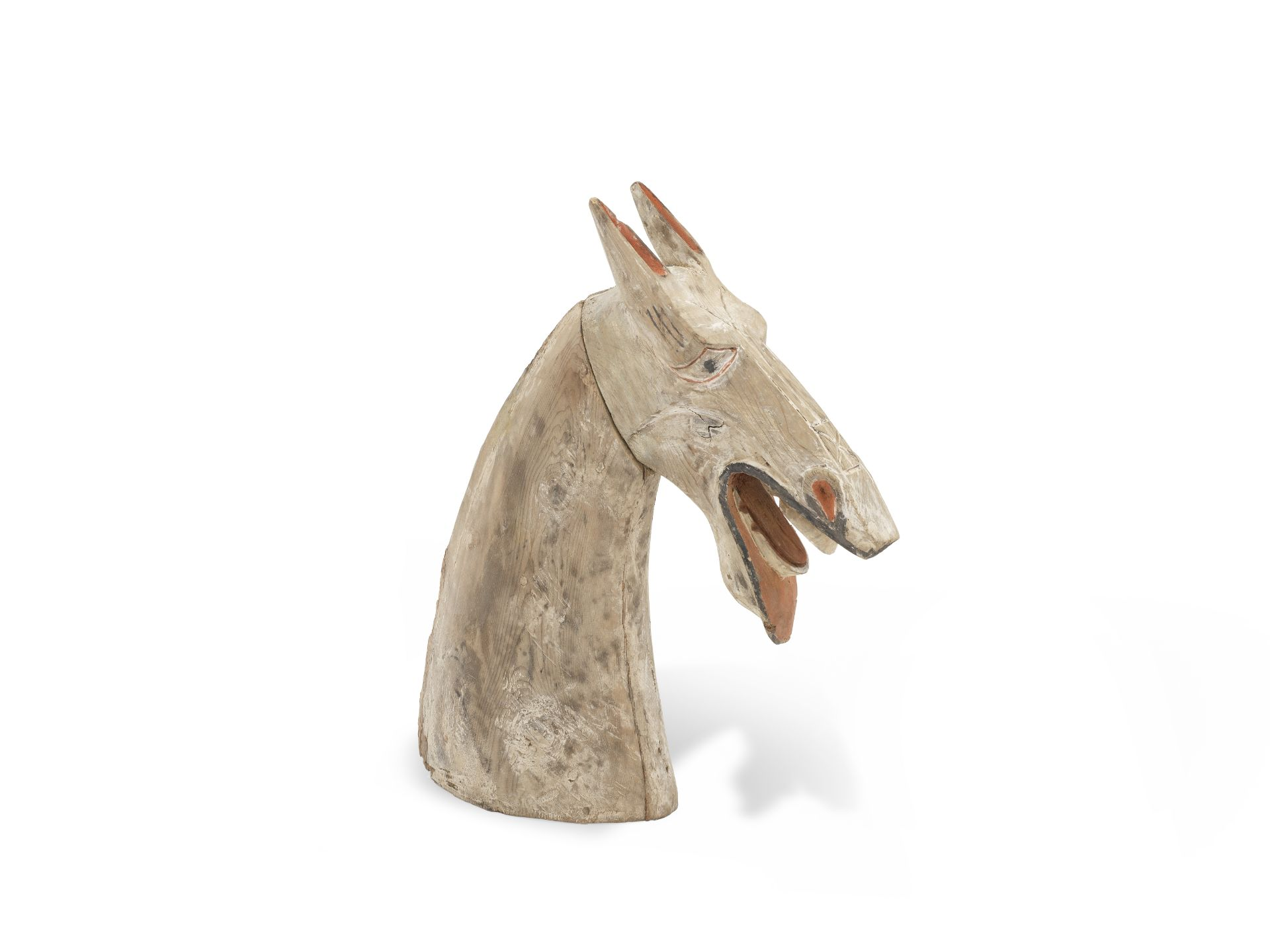 A PARTIALLY-PAINTED WOOD HORSE HEAD Han Dynasty (2)