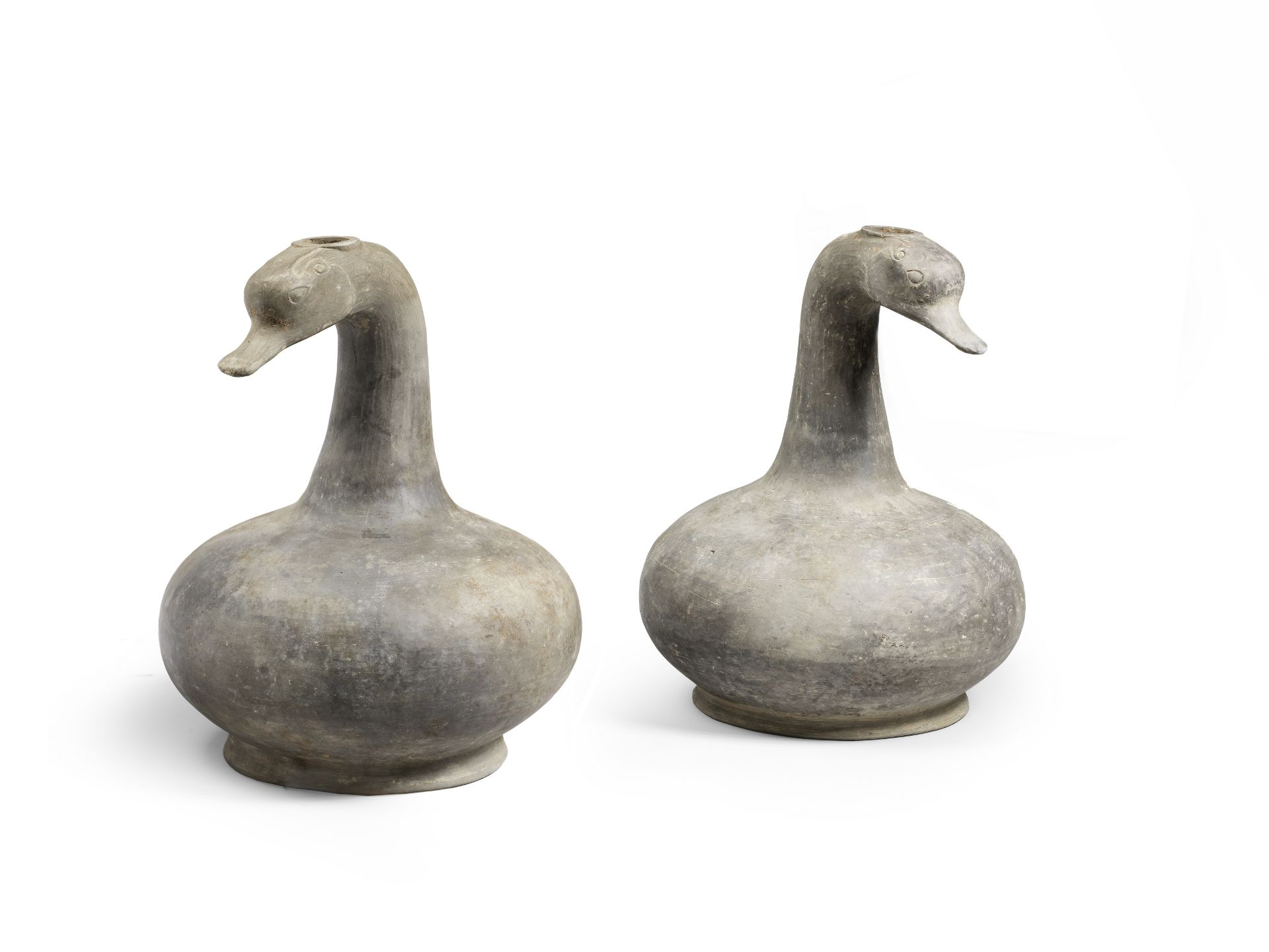 AN UNUSUAL PAIR OF GREY POTTERY GOOSE-HEAD BOTTLE VASES Han Dynasty (2)