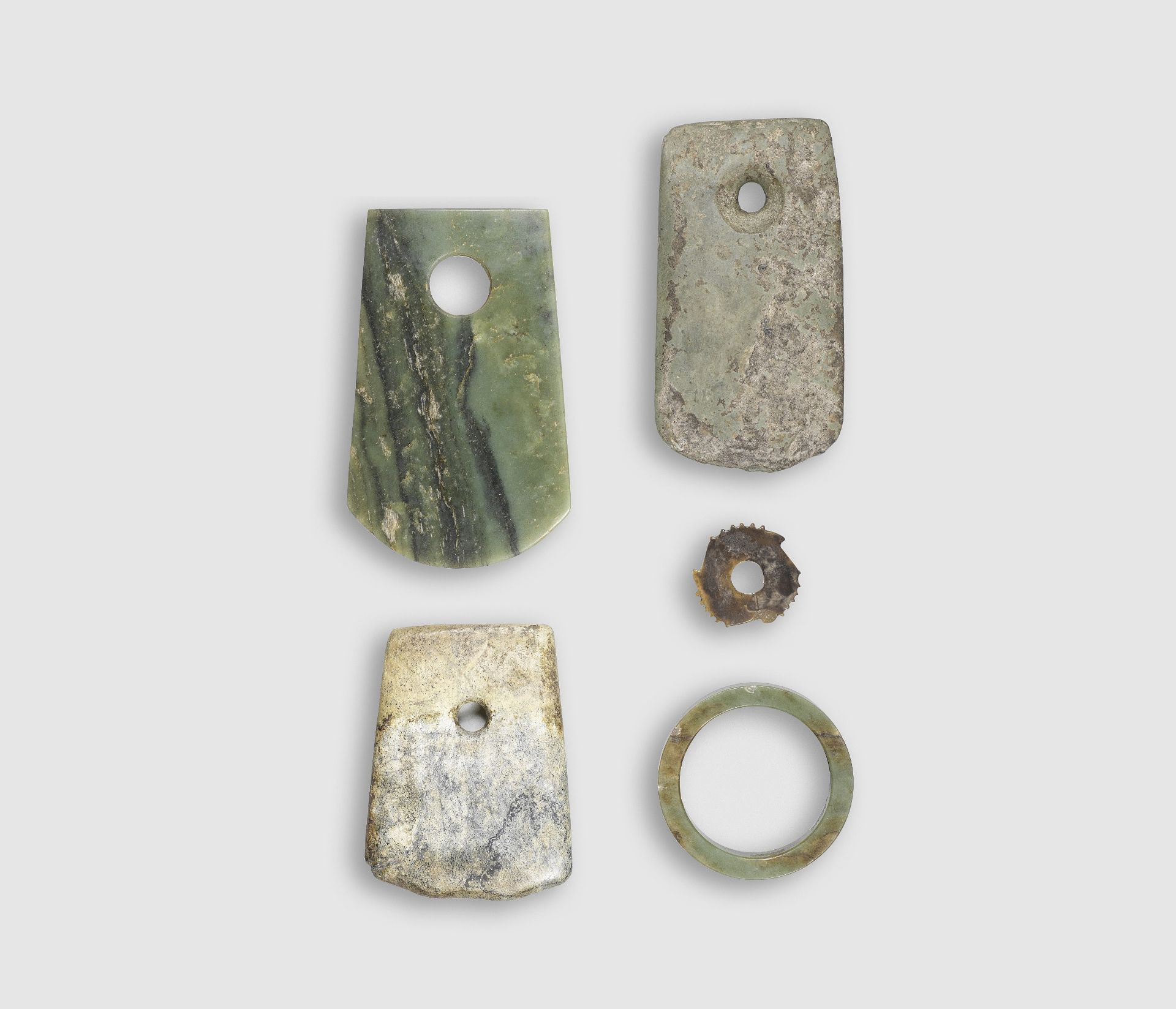 FIVE ARCHAIC JADE AND HARDSTONE CARVINGS Neolithic Period to Shang Dynasty (5)
