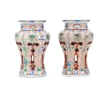 A RARE PAIR OF WUCAI RETICULATED INCENSE BURNERS Wanli (2)